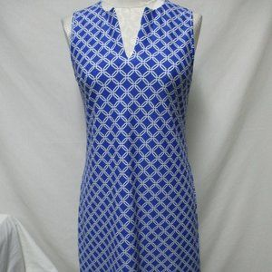 Jude Connally knit dress knee length blue white Sm